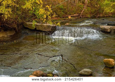 A tiny waterfall in the Bedford Reservation on of Cleveland Ohio's metroparks