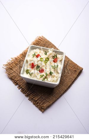 Radish Raita / daikon or Mooli Koshimbir is a condiment from the Indian subcontinent, made with dahi or curd together with raw or cooked vegetables like radish, tomato, green chilli and coriander