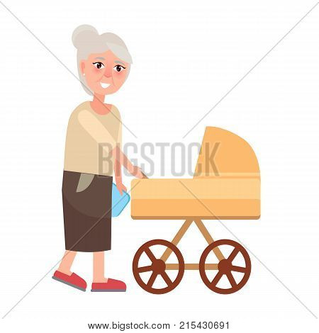Grandmother walking with newborn toddler in carriage pram isolated on white. Vector illustration of two generations grandma and infant