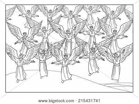 The Choir of singing Angels appeared to the Shepherds in the Field.