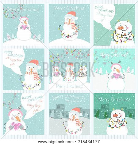 Collection of 9 cute Merry Christmas and Happy New Year ready-to-use gift cards with snowmen. Set of eight printable hand drawn holiday posters templates. Vector seasonal postcard design.