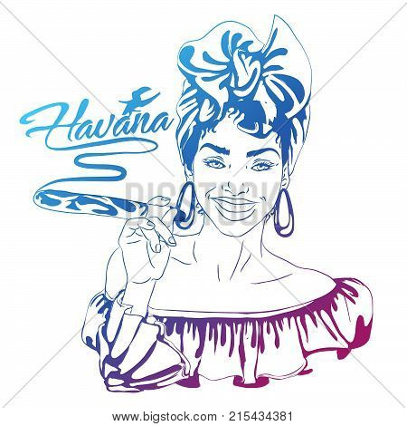 cuban woman face. cartoon vector illustration for music poster. cuba girl with floral decor and cigar. Caribbean ethnic caricature grotesque poster
