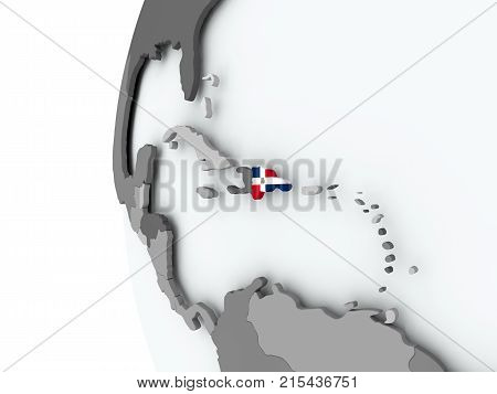 Dominican Republic On Globe With Flag
