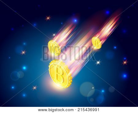 Bitcoins falls, 3d isometric vector illustration with cryptocurrency symbol falling from space like a comet, light splashes, stars, beautiful concept of financial failure