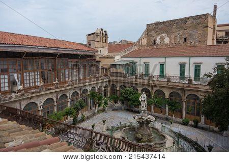 Baroque fountain in courtyard church Chiesa di Santa Caterina. Palermo Italy.