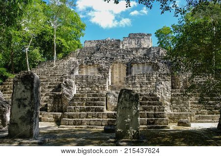 Sight Of The Mayan Pyramid In Ruins In The Archaeological Balamku Enclosure In The Reservation Of Th