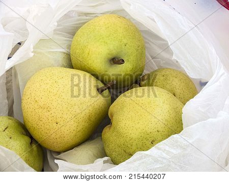 consume pears for health, pure natural pears, pears in bag