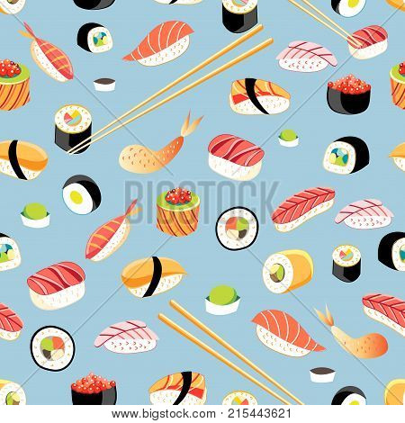 Seamless bright pattern with different sushi on a blue background
