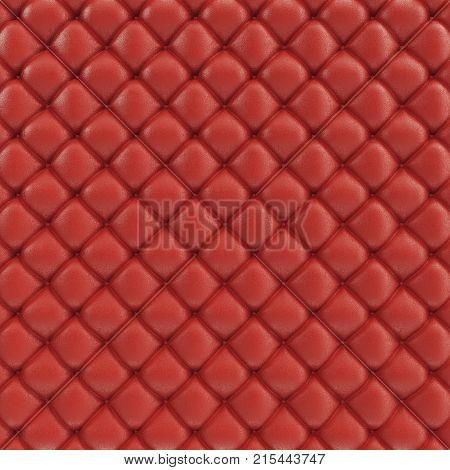 3D illustration leather sofa texture. Luxurious texture of red-colored leather upholstery. Leather Upholstery Sofa Background