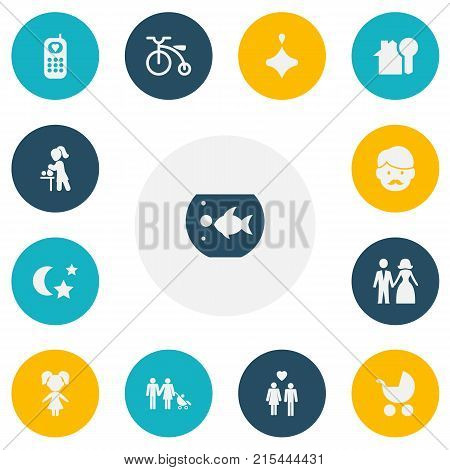 Set Of 13 Editable Relatives Icons. Includes Symbols Such As Girl, Perambulator, Married And More