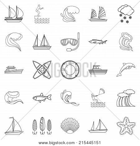 Water bewitched icons set. Outline set of 25 water bewitched vector icons for web isolated on white background