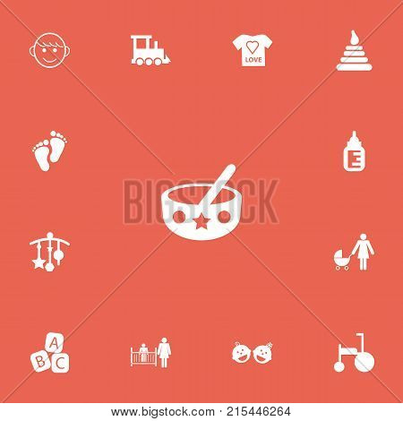 Set Of 13 Editable Baby Icons. Includes Symbols Such As Carefully Mother, Perambulator, Tower And More