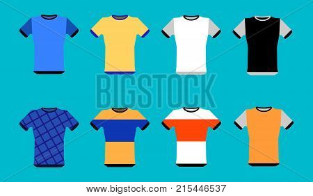 Types of jerseys set. simple icons of main jerseys . Yellow, red, blue, white pullovers isolated on blue background. Flat design  Illustration
