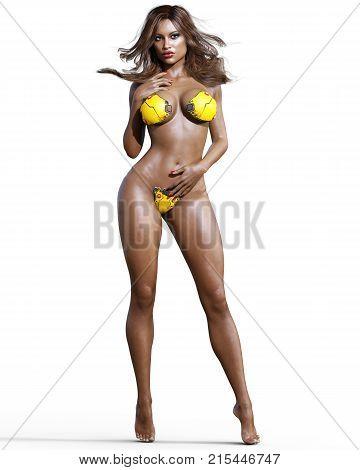 Tall sexy woman in minimalist futuristic lingerie. Metal bra and panties. Conceptual fashion art. Blue eyes. Seductive candid pose. Realistic 3D render illustration. Studio, high key.