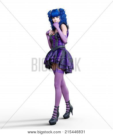 Young beautiful girl with doll face posing photo shoot. Short light purple dress, stockings, shoes. Long blue hair. Bright goth make up. Conceptual fashion art. Realistic 3D render illustration.