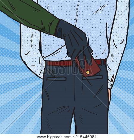 Pop Art Thief Stealing Wallet from Man Pocket. Pickpocket Theft. Vector illustration