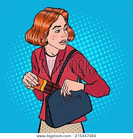 Pop Art Young Woman Stealing Food in Supermarket. Shoplifting Kleptomania Concept. Vector illustration