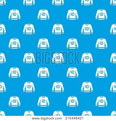 Hockey jersey pattern repeat seamless in blue color for any design. Vector geometric illustration