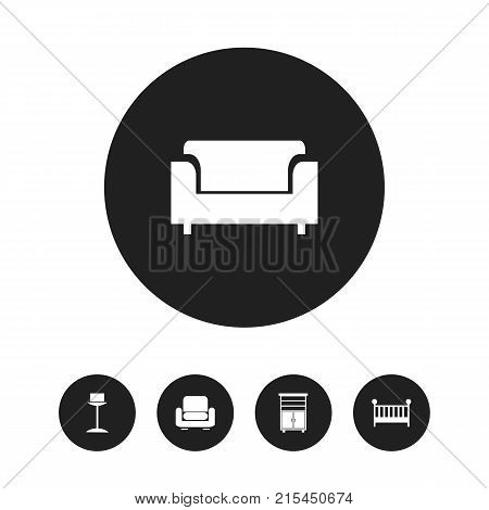 Set Of 5 Editable Furniture Icons. Includes Symbols Such As Enlightenment, Child Cot, Recliner And More