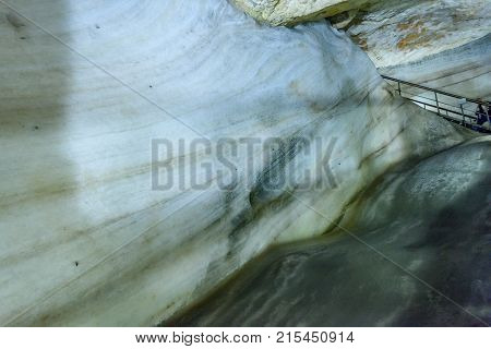 A Colorful View Of The Ice Cave In The Glacier In Slovakia