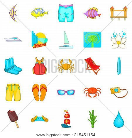 Plage icons set. Cartoon set of 25 plage vector icons for web isolated on white background