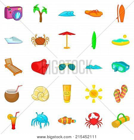 Seaside icons set. Cartoon set of 25 seaside vector icons for web isolated on white background