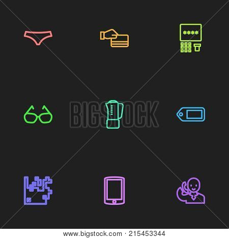 Set Of 9 Editable Business Outline Icons. Includes Symbols Such As Glasses, Credit Card, Talking On Phone And More