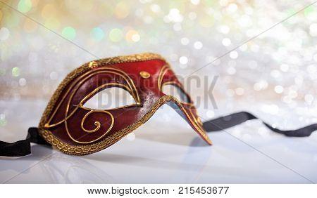 Handmade Carnival Mask On Bokeh Background