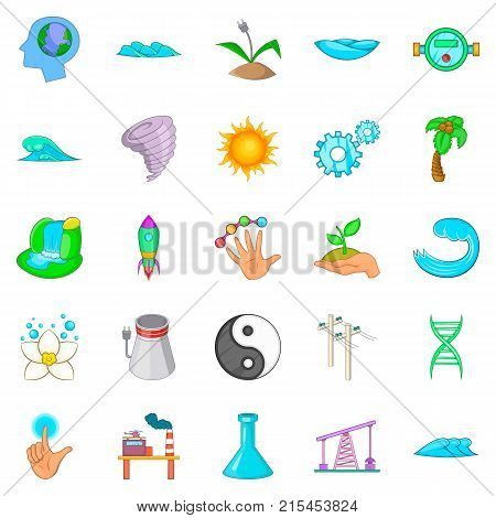 Force of nature icons set. Cartoon set of 25 force of nature vector icons for web isolated on white background