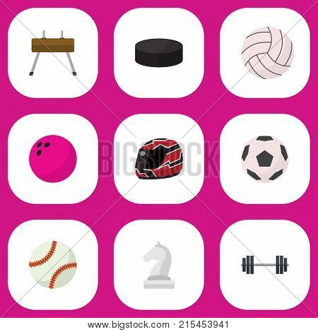 Set Of 9 Editable Sport Flat Icons. Includes Symbols Such As Athlete, Circle, Kegling And More