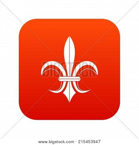 Lily heraldic emblem icon digital red for any design isolated on white vector illustration
