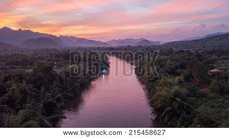 Dusk over the Kwai Noi River in Kanchanaburi, Thailand