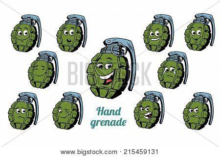 hand grenade emotions emoticons set isolated on white background. Comic book cartoon pop art illustration retro vector