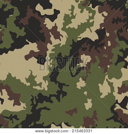 Camouflage pattern background. Classic clothing style masking camo repeat print. Green brown black olive colors forest texture. Texture military camo repeats seamless army green hunting