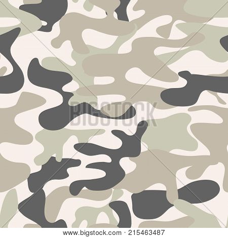 Seamless camouflage pattern. Khaki texture, vector illustration. Camo print background. Abstract military style backdrop. Fashionable camouflage pattern. Military print. Seamless vector wallpaper