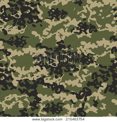 Camouflage pattern background. Classic clothing style masking camo repeat print. Green black olive colors forest texture. Texture military camo repeats seamless army green hunting