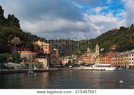 PORTOFINO, ITALY - DECEMBER 2016: Sea harbour with beautiful architecture in Portofino town, Italy