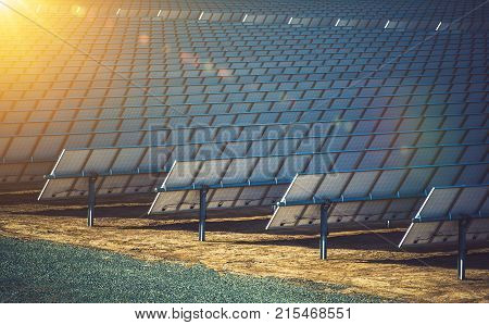 Commercial Concentrating Solar Power CSP Plants. Solar Energy Renewable Energy Theme. Solar Reflectors Closeup.