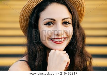 People, Beauty, Emotions Concept. Close Up Portrait Of Beautiful Brunette Female With Nice Make-up A