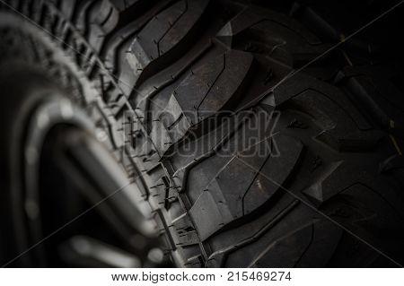 Off Road Tire Closeup. Vehicle Tire Tread