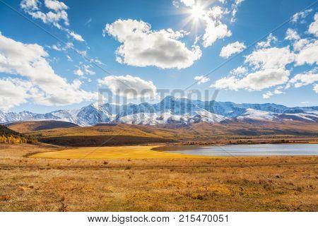 Mountains and a Lake. Landscape panorama. Altai. Siberia