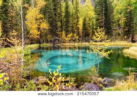Amazing Blue Geyser Lake in the Mountains of Altai, Siberia