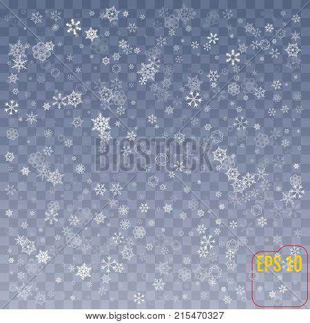 Snowflake Vector. Falling Christmas Snow Fall Isolated. Snowflak