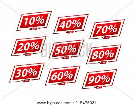 set of sale stickers block style, bold sale stickers, set of sale stickers for web, sale set, isolated on white background.
