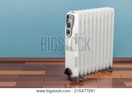 Electric oil heater oil-filled radiator on the floor. 3D rendering