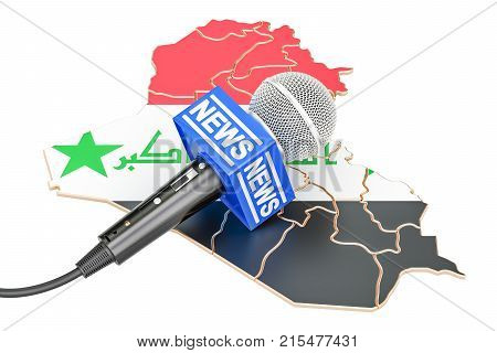 Iraqi News concept microphone news on the map. 3D rendering