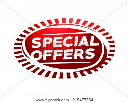 special offers illustration with rays, offers design, illustration design, isolated on white background.