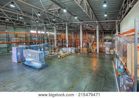 St. Petersburg Russia - July 27 2017: Custom Bonded Warehousing and Storage temporary storage warehouse space floor storage zone goods under customs control.