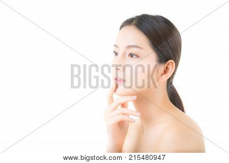Beautiful girl with makeup woman and skin care concept / attractive asia girl smilling on face isolated on white background.