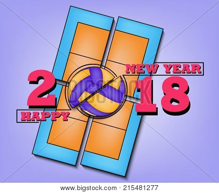 Happy New Year 2018 And  Volleyball
